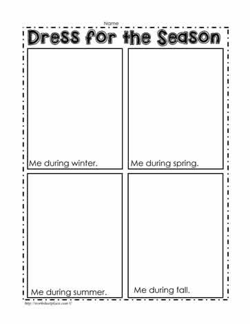 Seasons Worksheets Kindergarten Dress for the Season Worksheet Worksheets