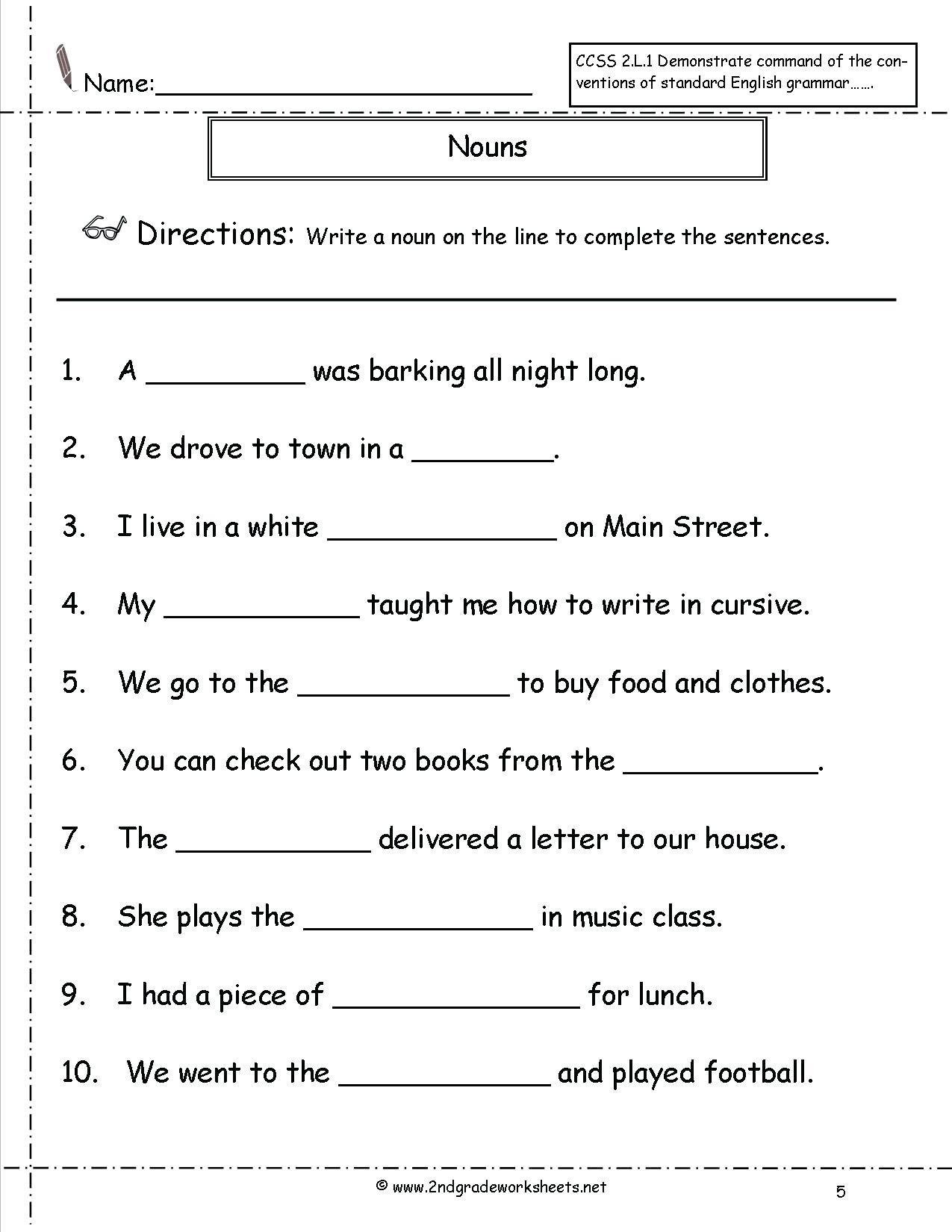 Second Grade Grammar Worksheets 2nd Grade Noun Worksheets Irregular Plural Noun Worksheet