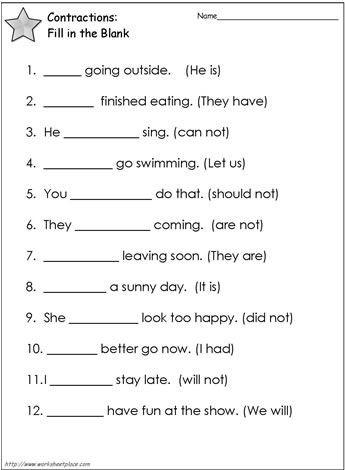 Second Grade Grammar Worksheets Contractions Worksheet 2 Worksheets
