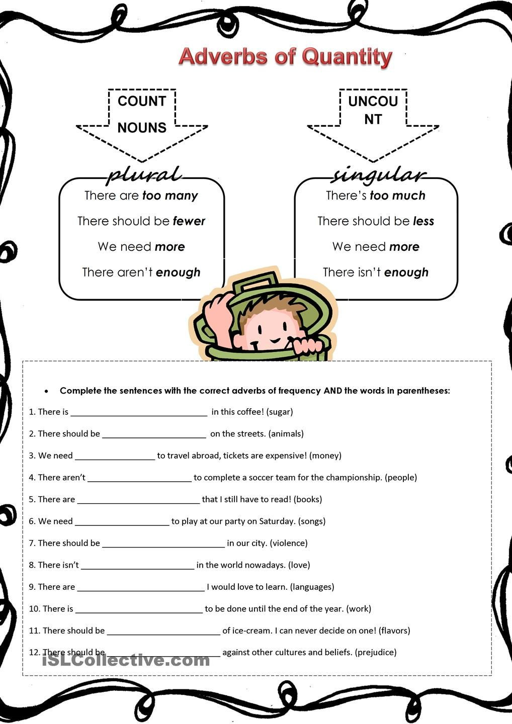 Second Grade History Worksheets Adverbs Of Quantity