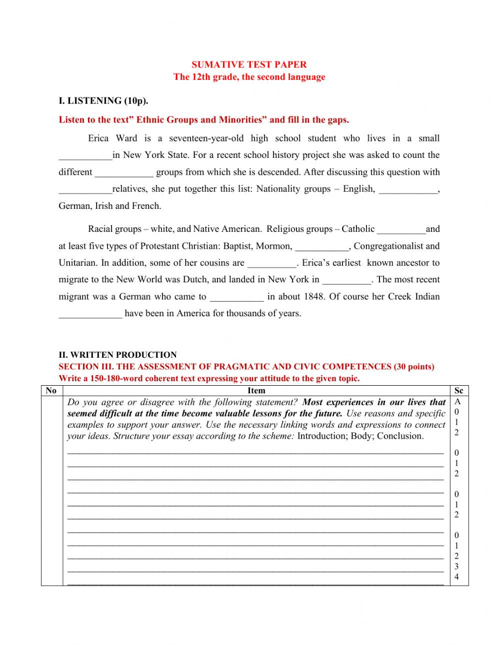 Second Grade History Worksheets Final Test Paper Interactive Worksheet