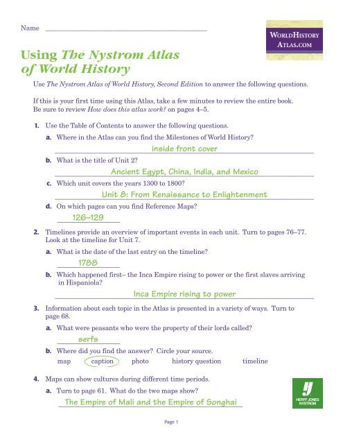 Second Grade History Worksheets World History atlas Test with Answers Nystrom Worksheets