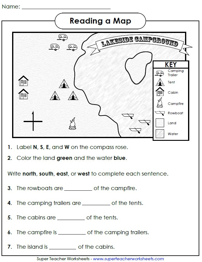 Second Grade Map Skills Worksheets Reading Map Cardinal Directions Grade social Stu S