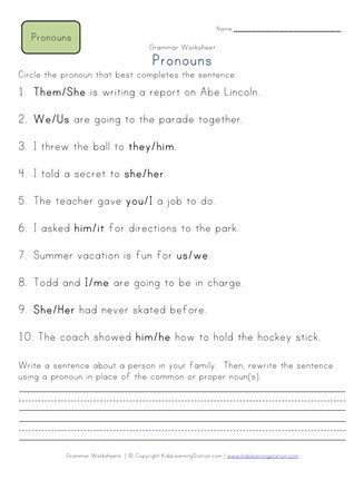 Second Grade Pronoun Worksheets Choose the Pronoun 2nd Grade Pronoun Worksheet 1
