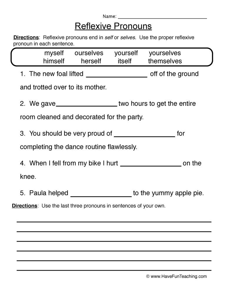 Second Grade Pronouns Worksheet Reflexive Pronouns Worksheet