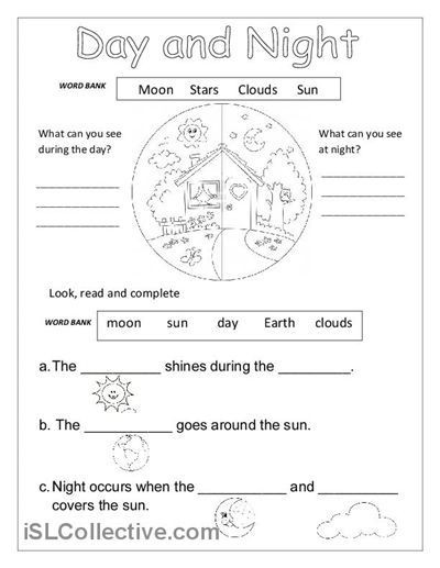 Second Grade Science Worksheets Free Day and Night Printable Worksheets for Kindergarten 1