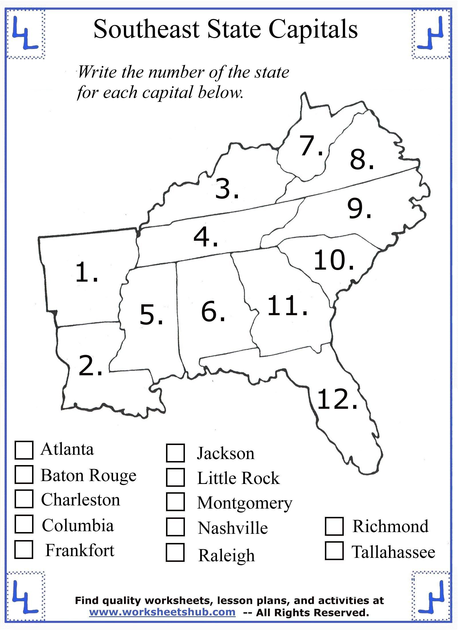 Second Grade social Studies Worksheets 4th Grade social Stu S southeast Region States