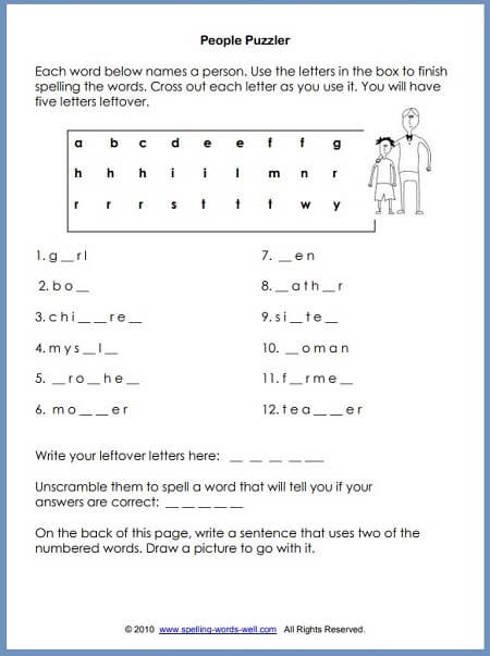 Second Grade Spelling Worksheets Second Grade Worksheets for Language Learning Fun
