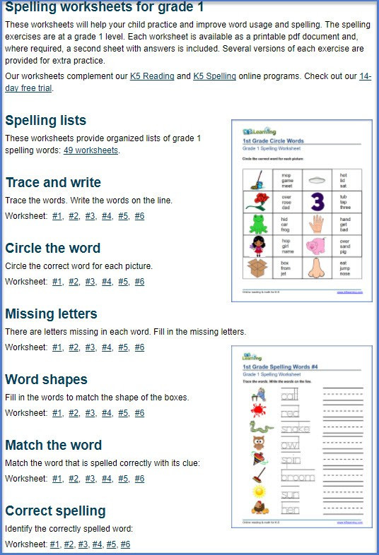 Second Grade Spelling Worksheets Spell It for Second Grade 1 Worksheets