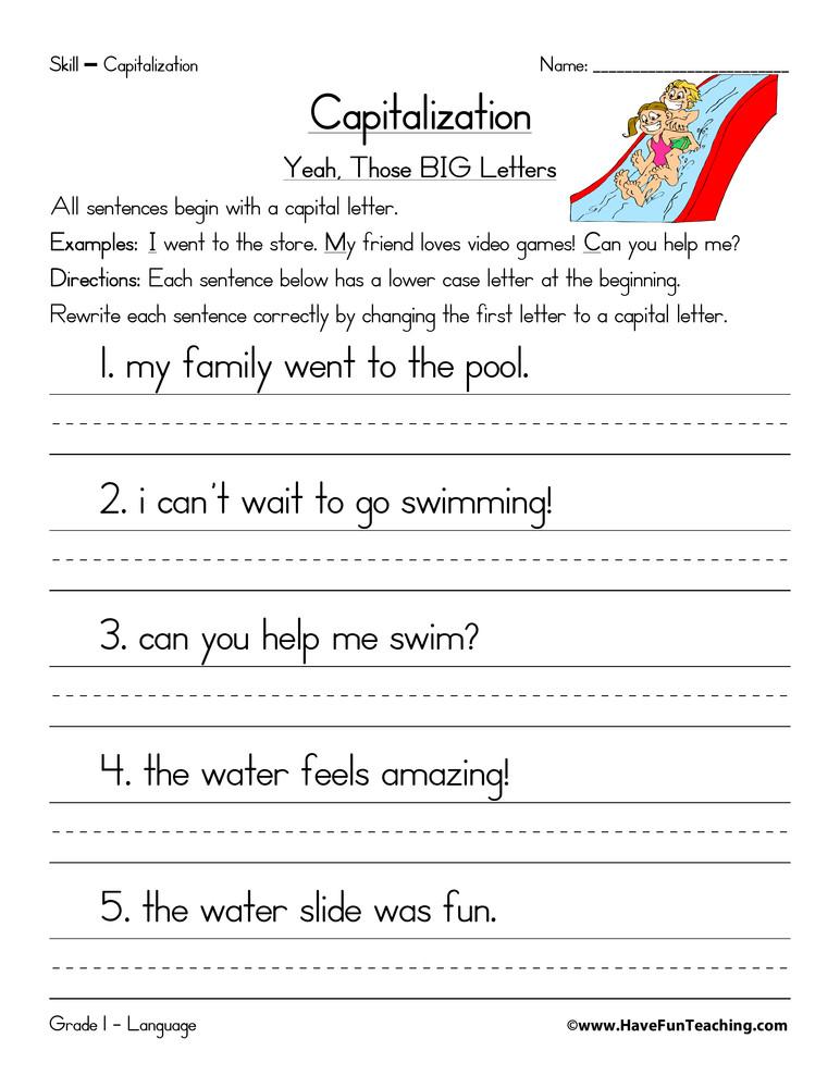 Sentence Worksheets First Grade Capitalization Beginning Of A Sentence Worksheet