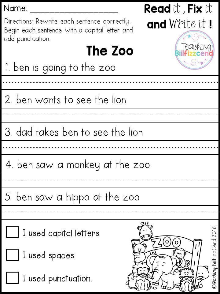 Sentence Worksheets First Grade Free Fix It Up Sentences In 2020 with Images