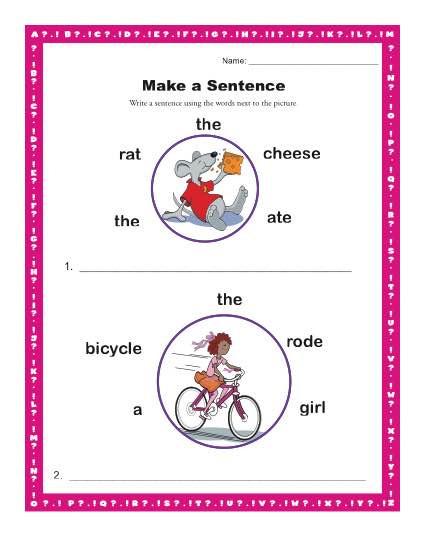 Sentence Worksheets First Grade Make A Sentence