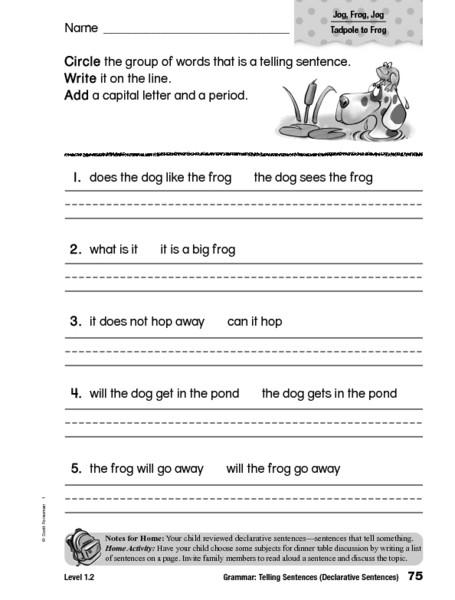 Sentence Worksheets First Grade Telling Sentences Declarative Sentences Worksheet for 1st