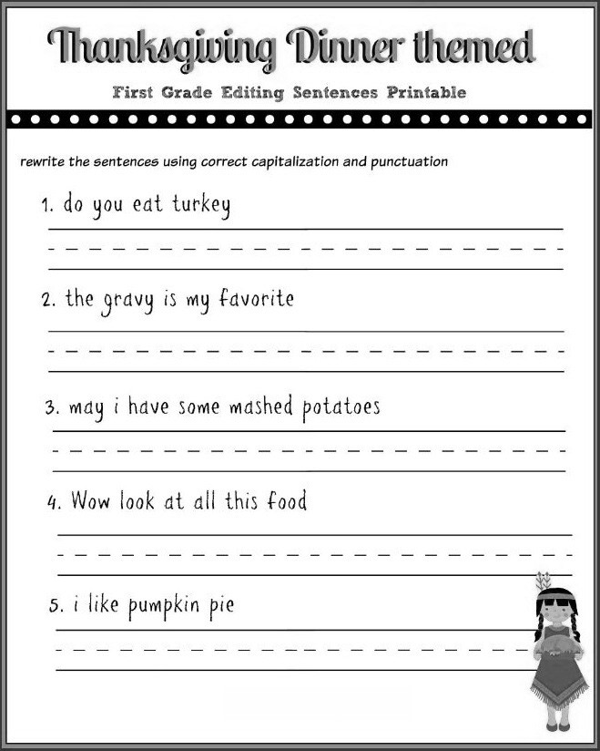 Sentence Worksheets for First Grade 12 Good Examples 1st Grade Worksheets Free Download