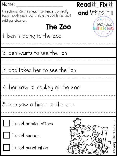 Sentence Worksheets for First Grade Best 25 Simple Sentences Worksheet