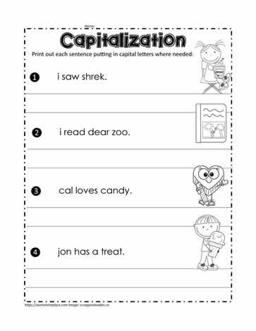 Sentence Worksheets for First Grade Fix the Sentences Worksheets