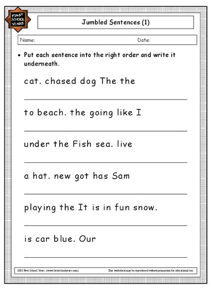 Sentence Worksheets for First Grade Sentences Lessons Tes Teach
