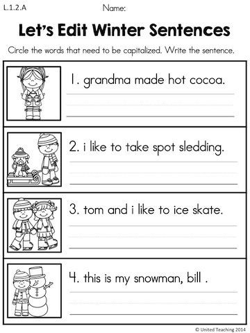 Sentence Worksheets for First Grade Winter Literacy Worksheets 1st Grade