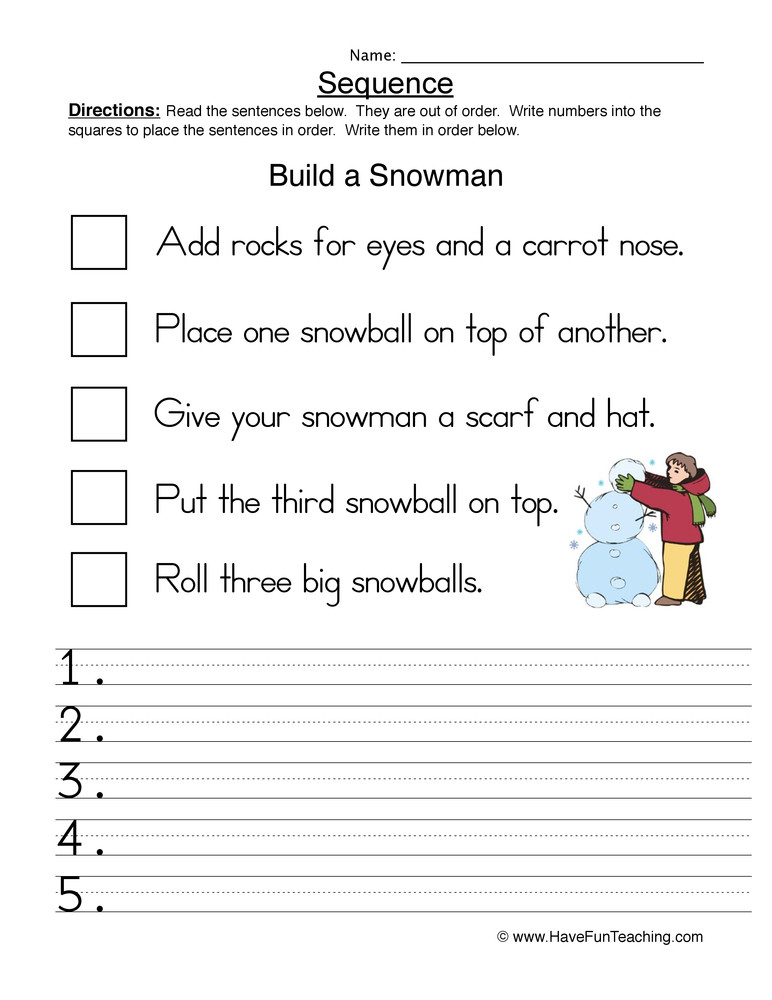Sequencing events Worksheets Grade 6 Build A Snowman Sequence Worksheet