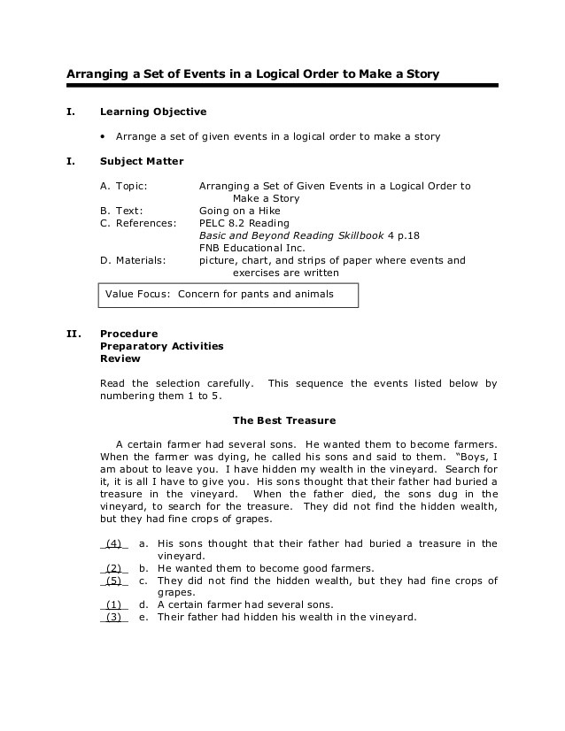 Sequencing events Worksheets Grade 6 Grade 6 English Reading Arranging A Set Of events In A