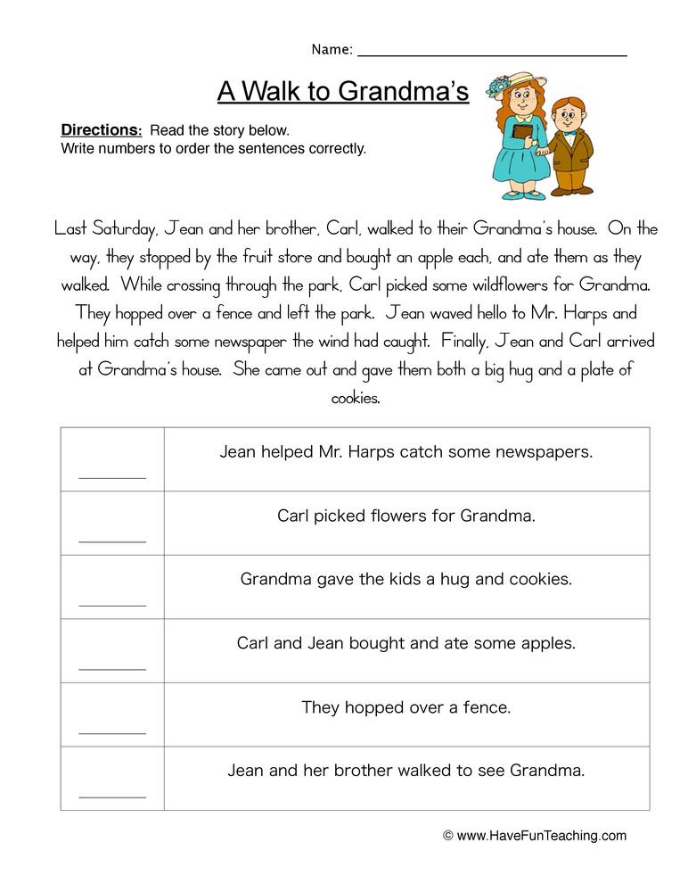 Sequencing events Worksheets Grade 6 Story events order Of events Worksheet