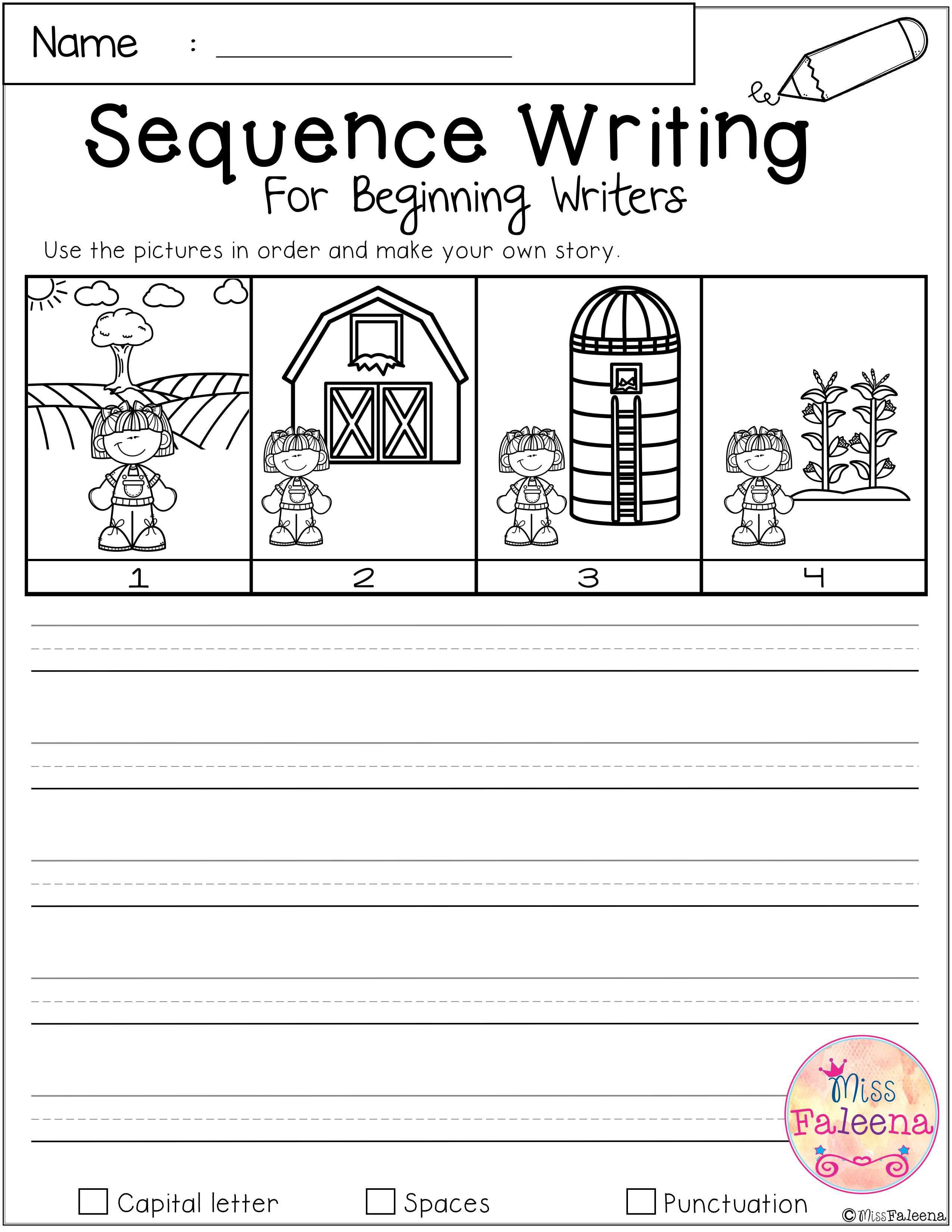 Sequencing Worksheet Kindergarten Free Sequence Writing for Beginning Writers