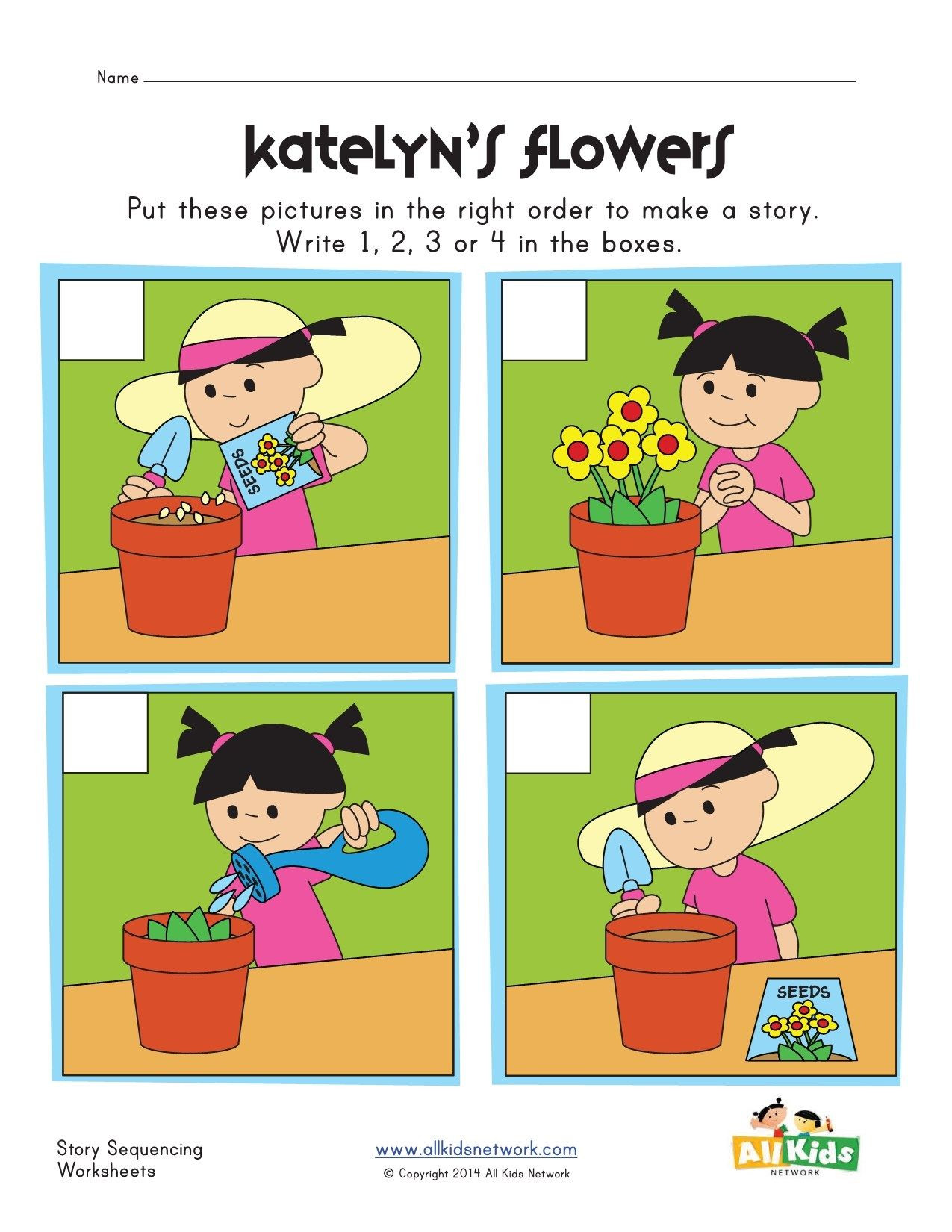 Sequencing Worksheets for Kindergarten Planting Flowers Sequencing Worksheet