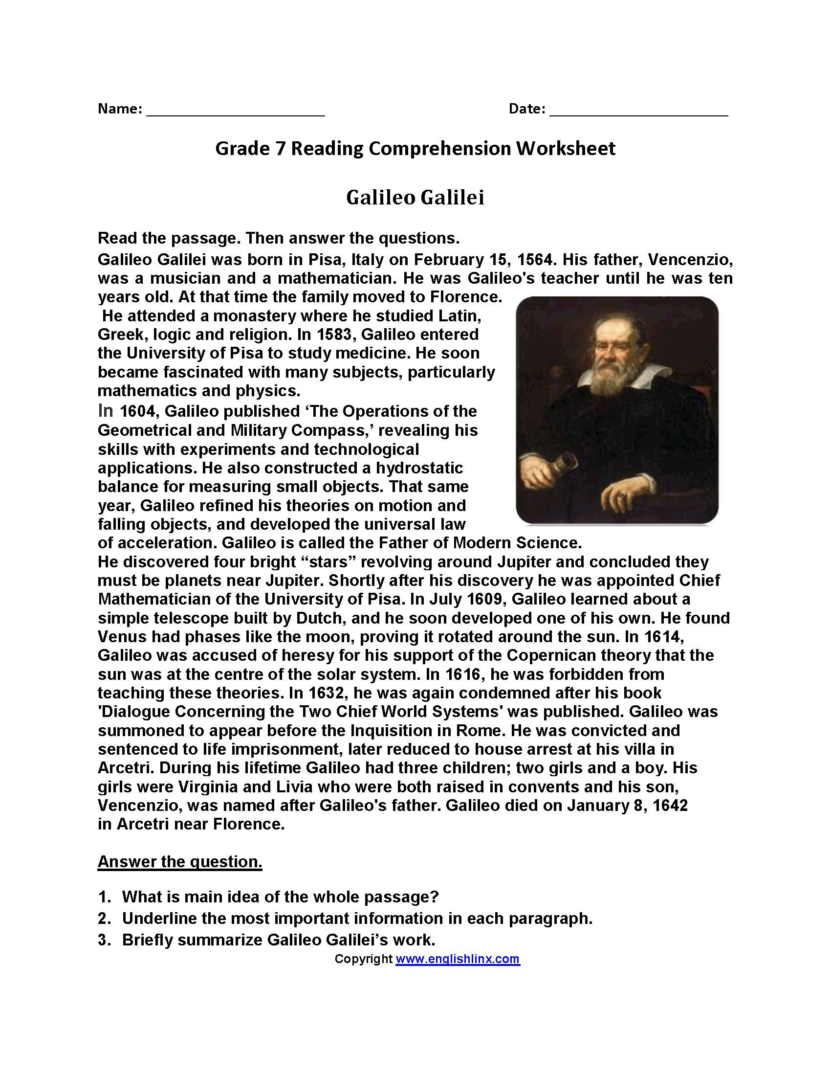 Seventh Grade Reading Comprehension Worksheets 3 Reading Prehension Worksheets Third Grade 3 In 2020