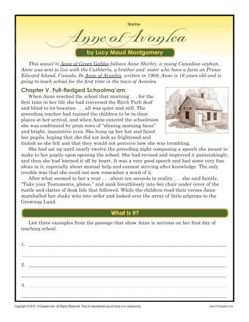 Seventh Grade Reading Comprehension Worksheets Anne Of Avonlea