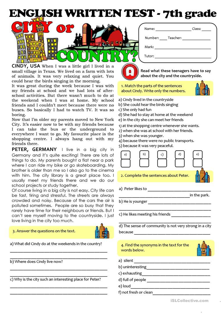 Seventh Grade Reading Comprehension Worksheets City Vs Countrylife Test 7th Grade English Esl