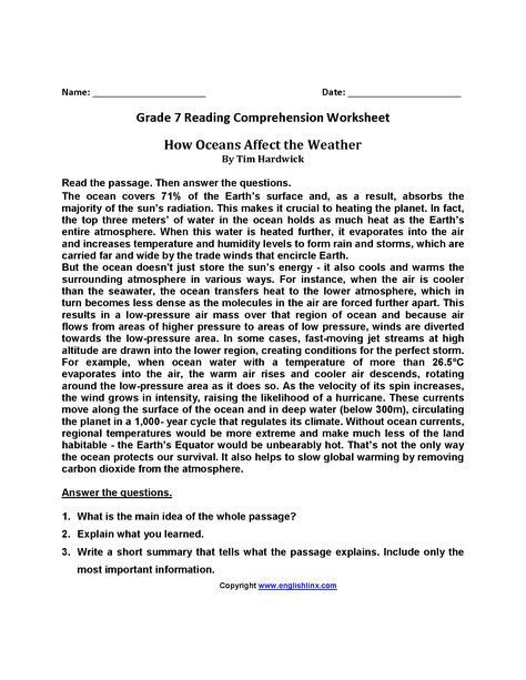 Seventh Grade Reading Comprehension Worksheets How Oceans Affect Weather Br Seventh Grade Reading