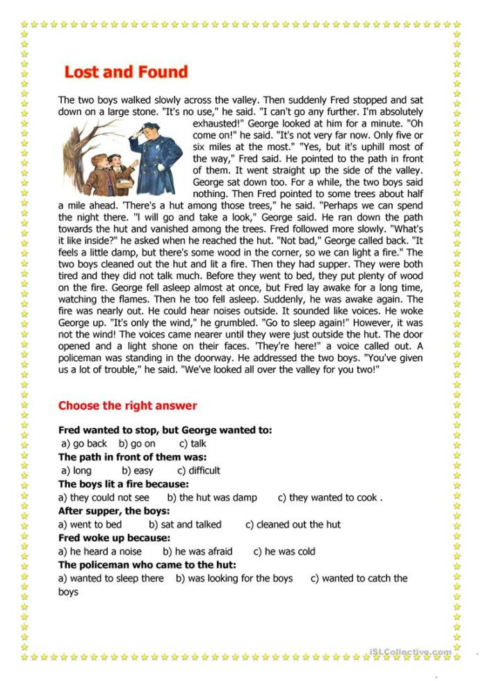 Seventh Grade Reading Comprehension Worksheets Lost Found English Esl Worksheets for Distance Learning and