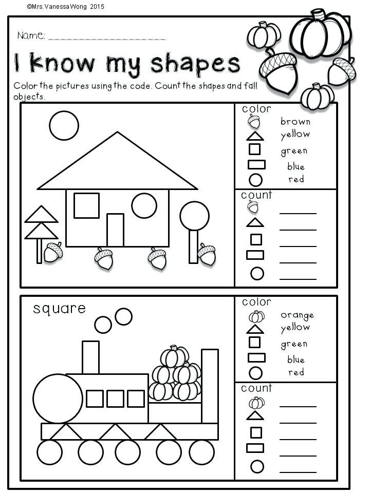 Shapes Worksheet for Kindergarten Math Exercises for Kindergarten Free Math Printable