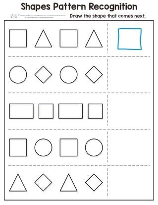 Shapes Worksheet for Kindergarten Shapes Pattern Recognition for Kindergarten Itsy Bitsy Fun