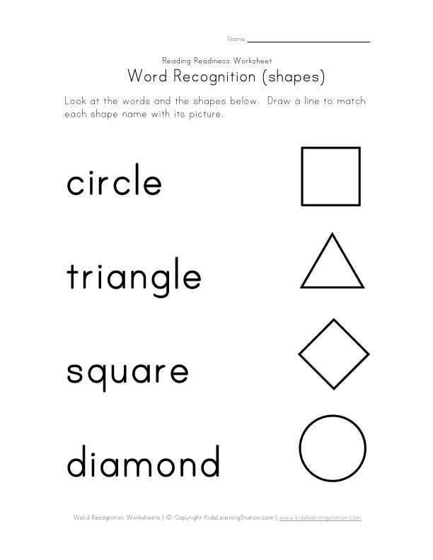 Shapes Worksheet for Kindergarten Word Recognition Worksheets