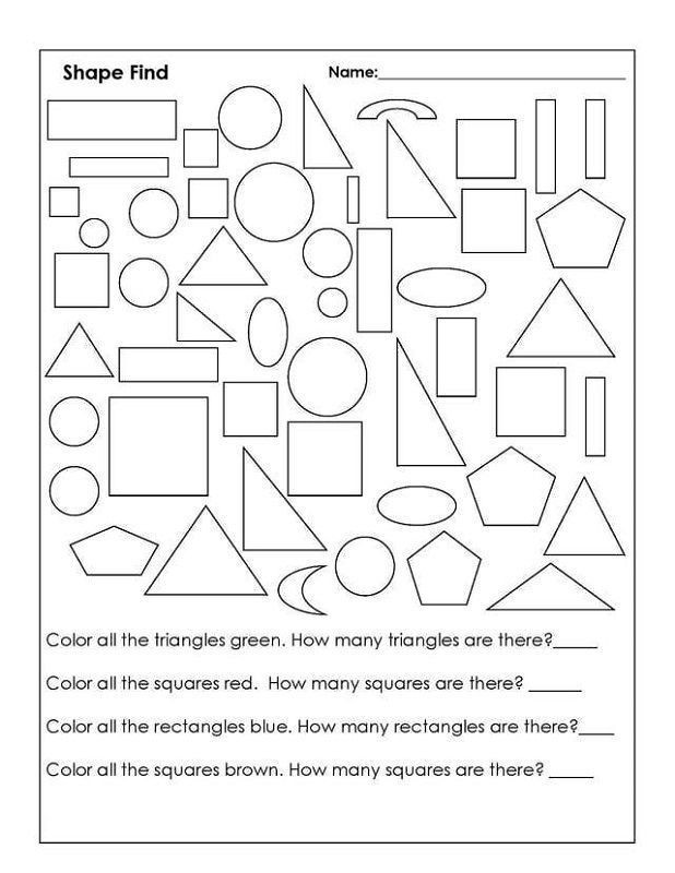 Shapes Worksheets 1st Grade Color by Shape Worksheet 1st Grade 001 In 2020