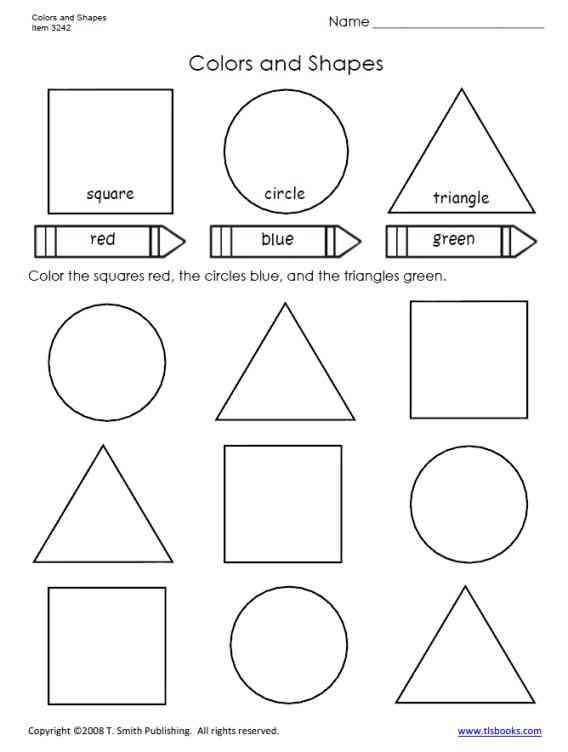 Shapes Worksheets 1st Grade Color the Shapes Worksheets