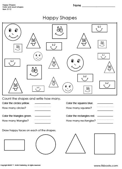 Shapes Worksheets 1st Grade Happy Shapes Worksheet