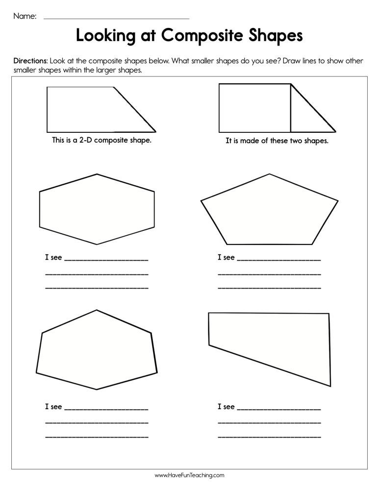 Shapes Worksheets 1st Grade Looking at Posite Shapes Worksheet