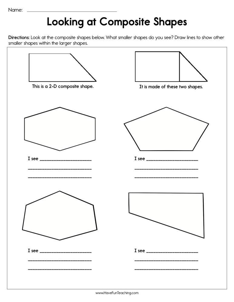 Shapes Worksheets 1st Grade Looking at Posite Shapes Worksheet