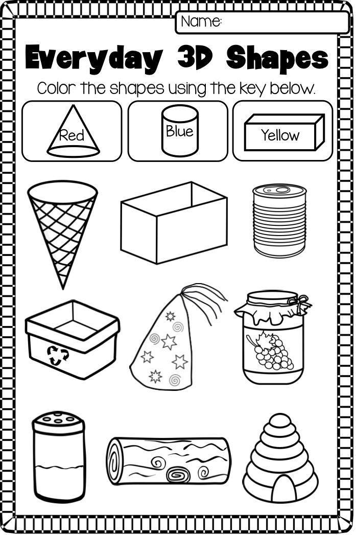 Shapes Worksheets for Kindergarten 2d and 3d Shapes Worksheet Pack No Prep
