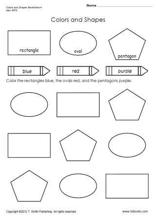 Shapes Worksheets for Kindergarten Colors and Shapes Worksheet 4