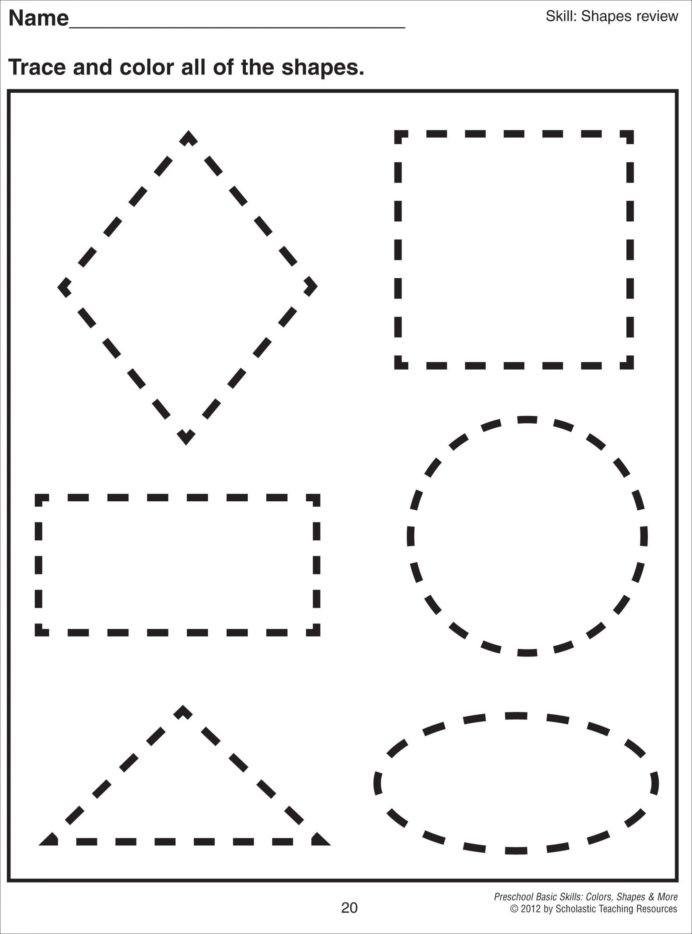 Shapes Worksheets for Kindergarten Cutting Shapes Worksheets Kindergarten Preschool Printable