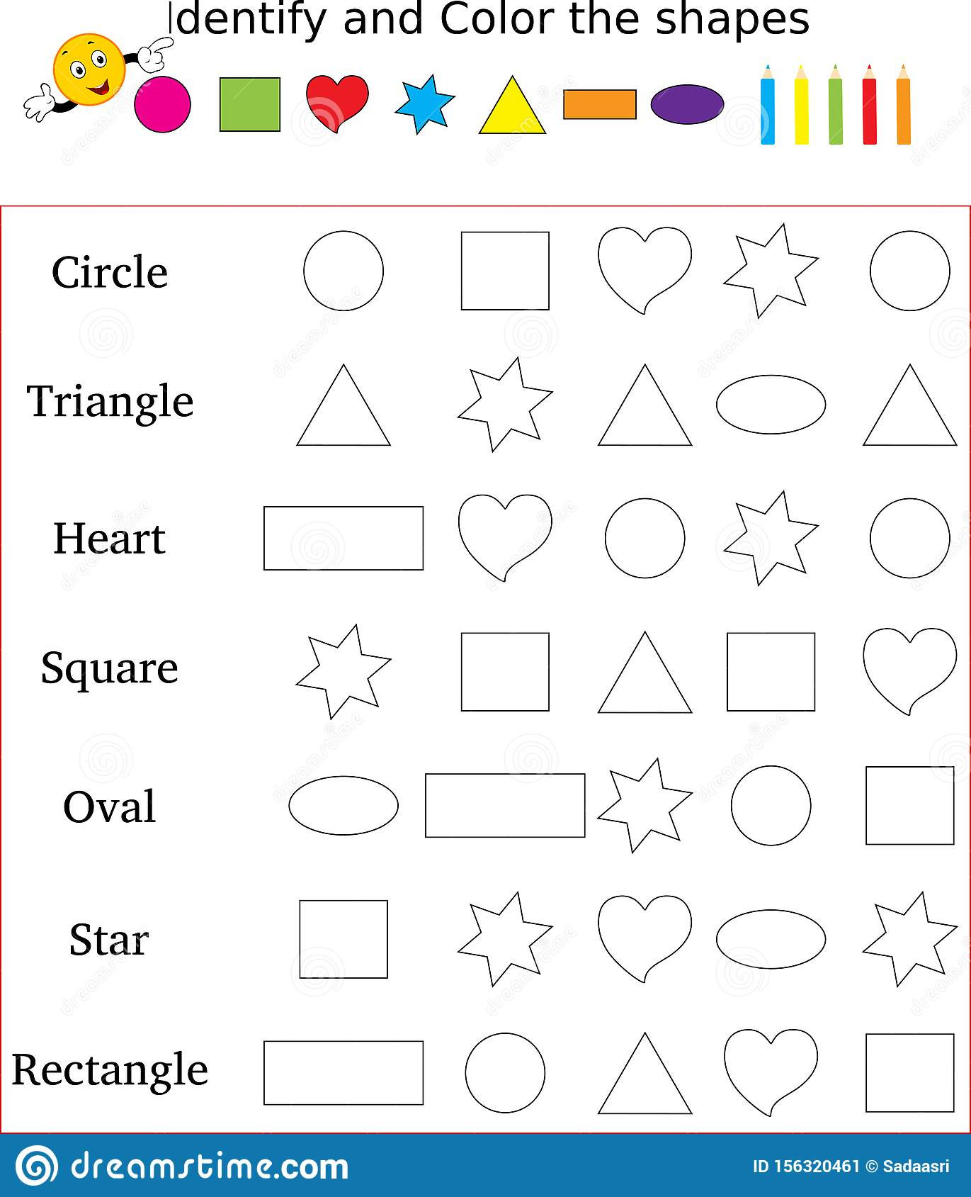 Shapes Worksheets for Kindergarten Identify and Color the Correct Shape Worksheet Stock Image