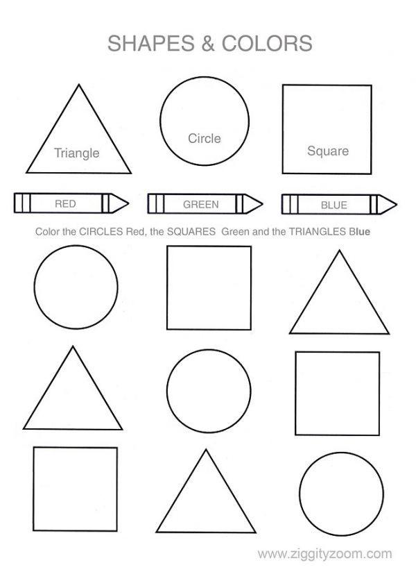 Shapes Worksheets for Kindergarten Shapes & Colors Worksheet