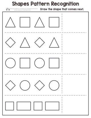 Shapes Worksheets for Kindergarten Shapes Pattern Recognition for Kindergarten Itsy Bitsy Fun