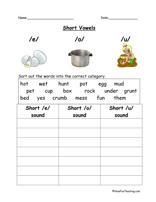 Short A Worksheet First Grade First Grade Short Vowels Worksheets • Have Fun Teaching
