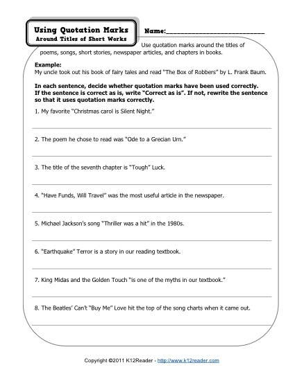 Short A Worksheet First Grade Quotation Marks Free Printable Punctuation Worksheets First
