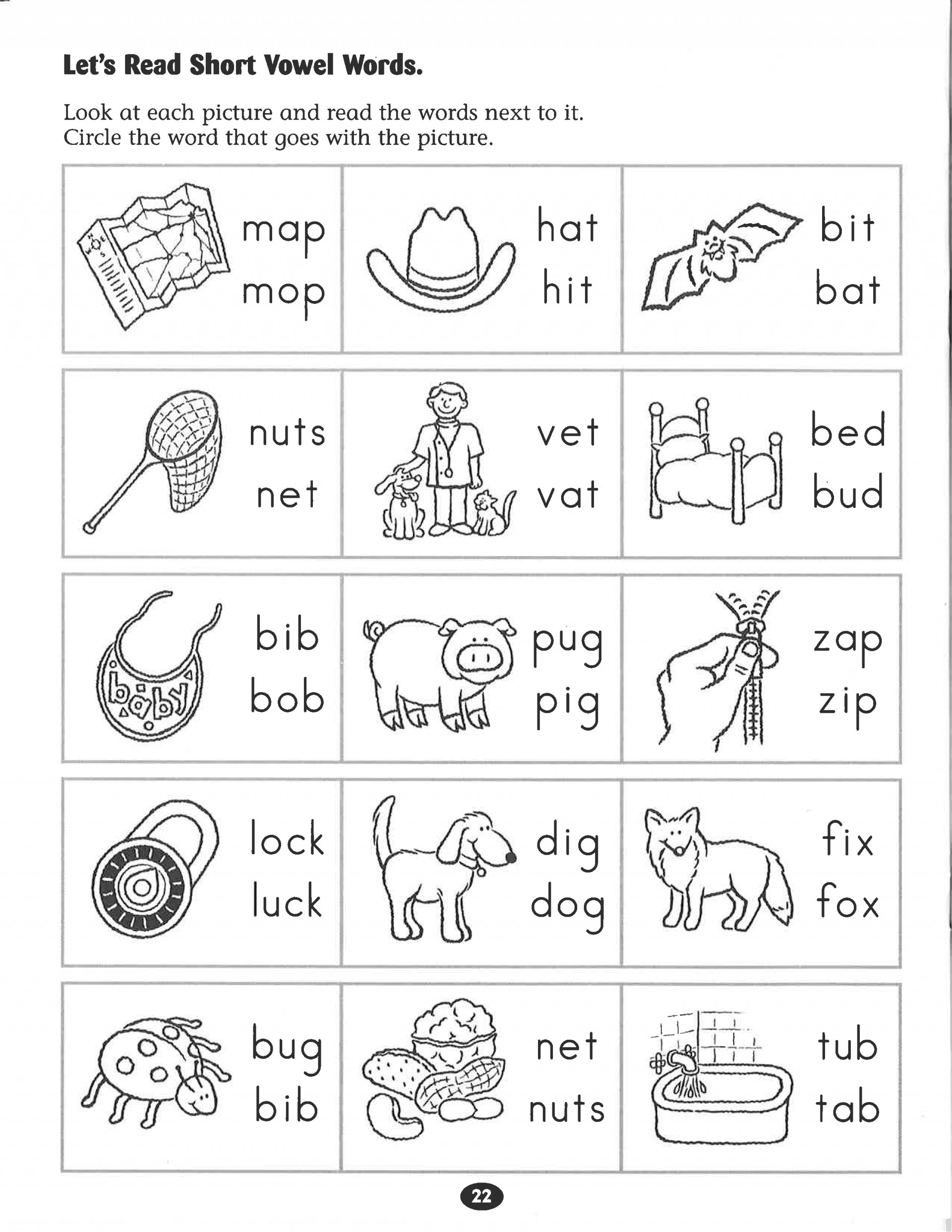 d398 short vowel a worksheets for first grade SHTML