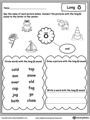 Short O Worksheets for Kindergarten Long O sound Worksheet